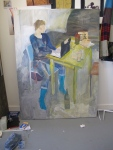 Paiting of Cissi. In my studio